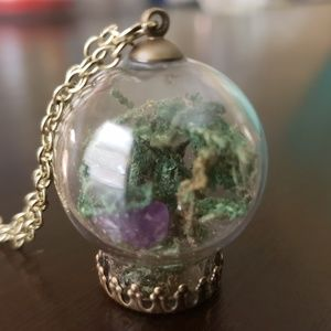 Mini Terrarium with Amethyst Crystal Necklace